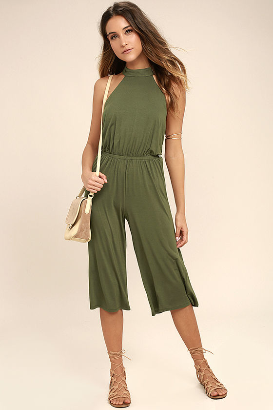 Fabulous Fate Olive Green Midi Jumpsuit, Lulus, $46