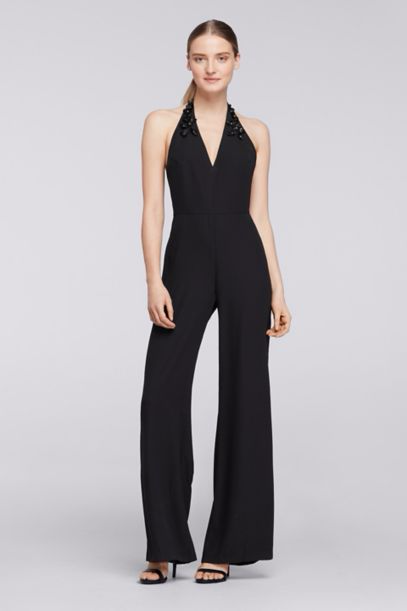 Halter Crepe Jumpsuit with Embellished Neck, Black