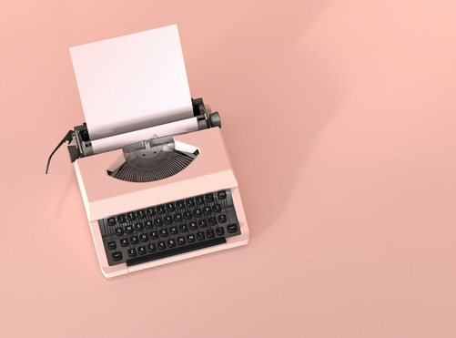 Pink typewriter with empty sheet of paper on pink ground, 3D Rendering