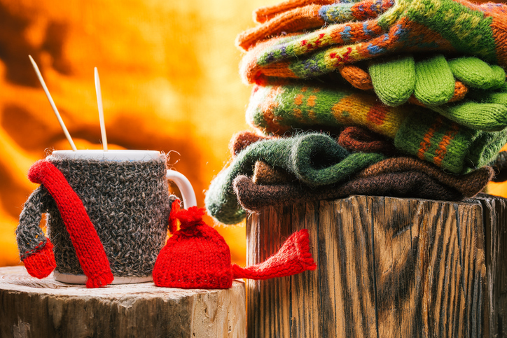 Knitwear and tea mug