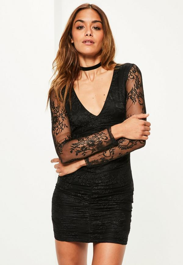 black-fine-lace-plunge-ruche-bodycon-dress.jpg
