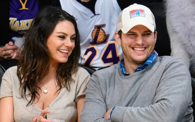 Ashton Kutcher and Mila Kunis at Basketball