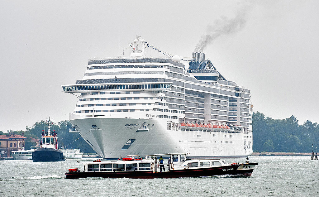Maxi Cruise MSC Divina Sails Into Venice Amid Protests