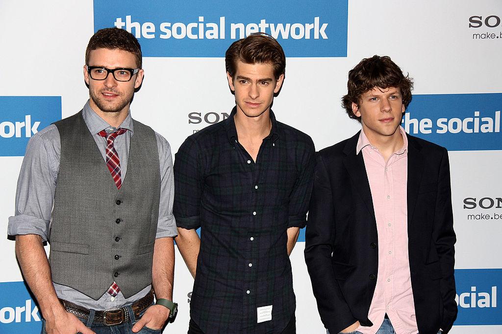 'The Social Network's justin timberlake Andrew Garfield Jesse Eisenberg,