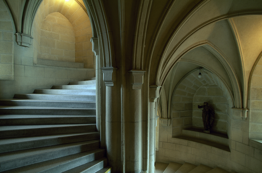Spiral staircases in castles