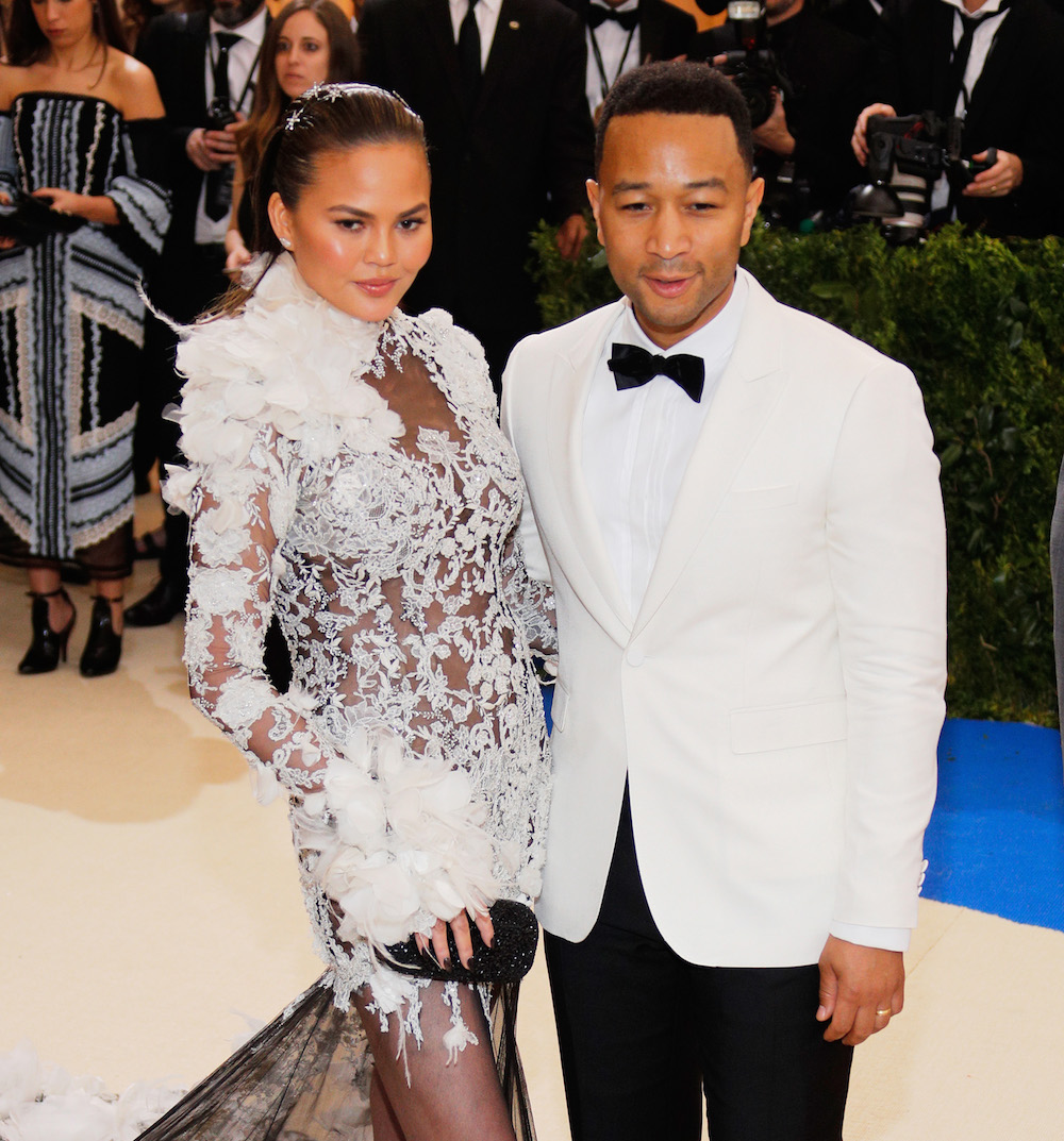 NEW YORK, NY - MAY 01:  Chrissy Teigen and John Legend attend 'Rei Kawakubo/Comme des Garçons:Art of the In-Between' Costume Institute Gala at Metropolitan Museum of Art on May 1, 2017 in New York City.  (Photo by Jackson Lee/FilmMagic)