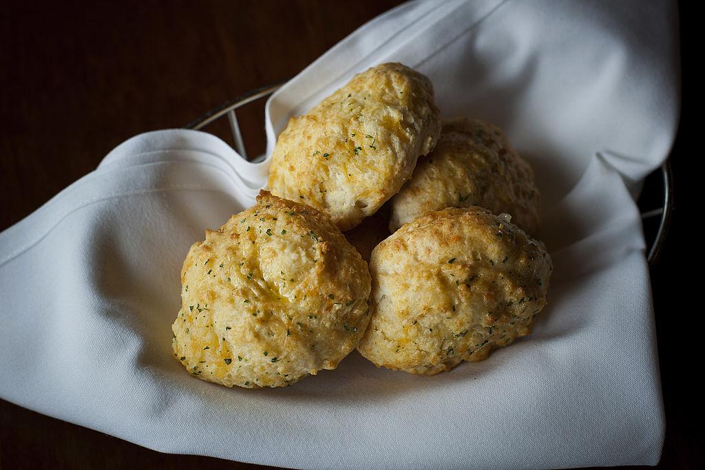 A basket of cheddar bay biscuits