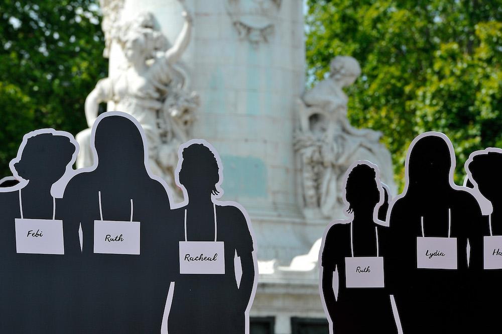Anne Hidalgo And Valerie Trierweiler Host 'Bring Back Our Girls' Ephemeral Exhibition In Paris