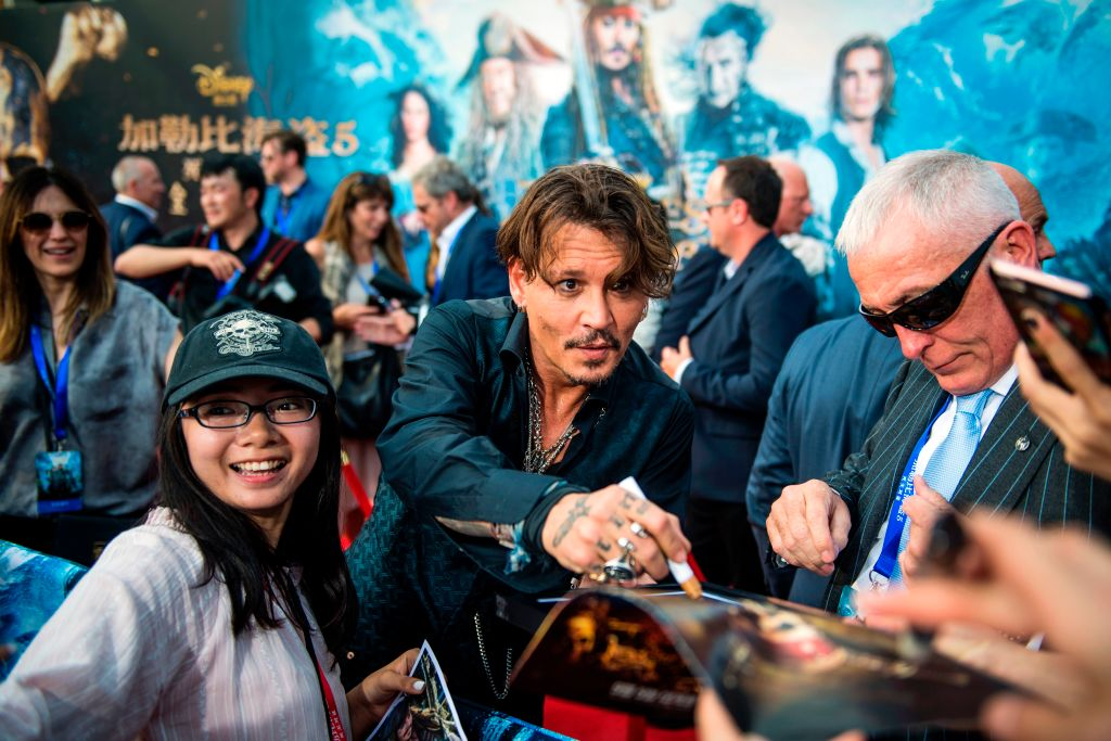 Johnny Depp at the premiere of Dead Men Tell No Tales in Shanghai.
