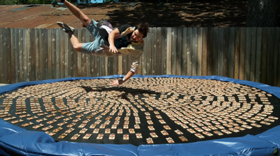 diving off trampoline into mousetraps