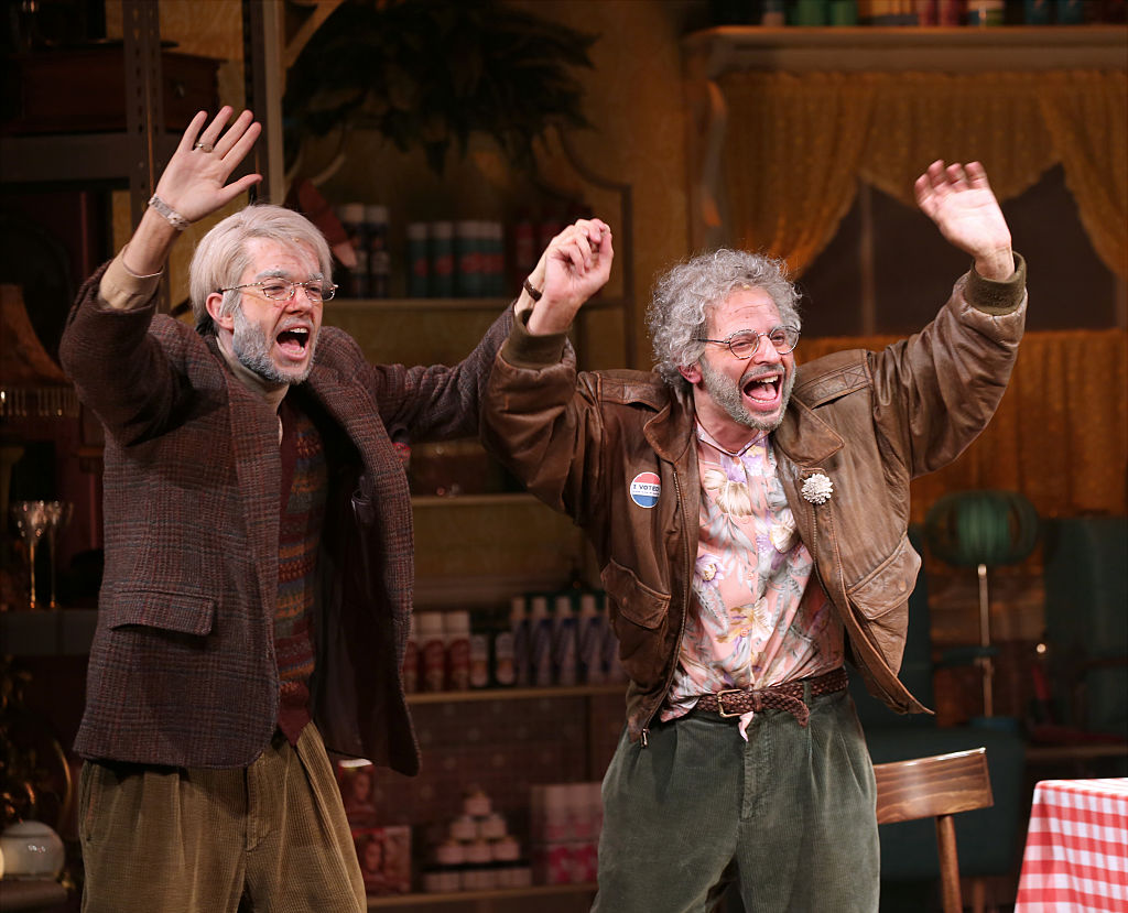 "John Mulaney and Nick Kroll as George St. Geegland and Gil Faizon on ""Oh Hello on Broadway."""