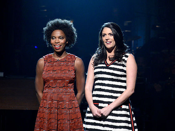 Cecily Strong and Shasheer Zamata perform on the SNL stage.