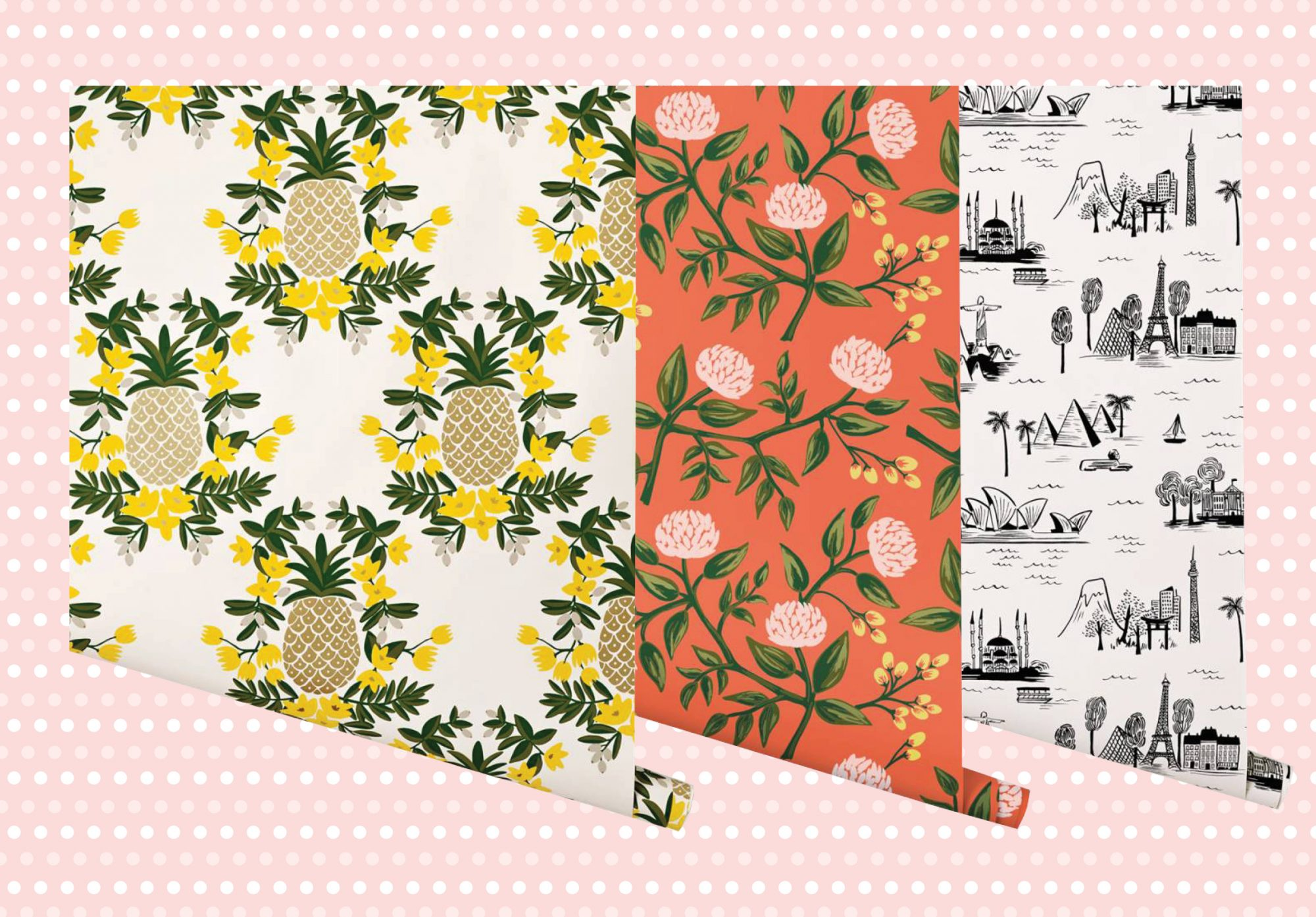 Three wallpaper patterns in Pineapple, floral, and city prints.