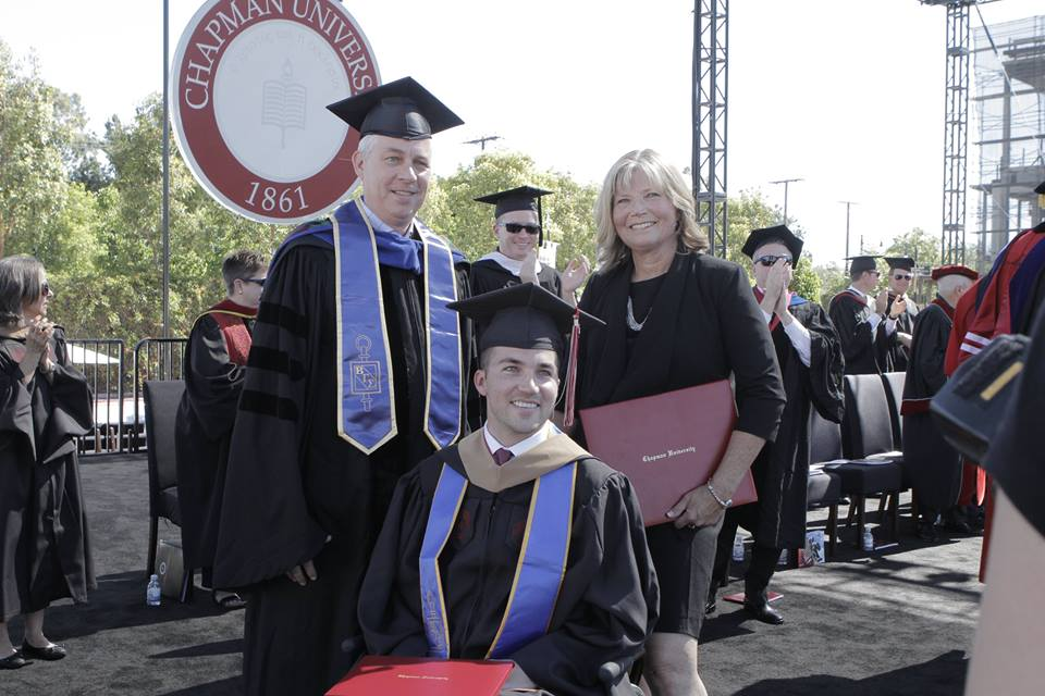 Judy O'Connor was honored with an honorary MBA after taking notes in every one of quadriplegic son Marty's classes/