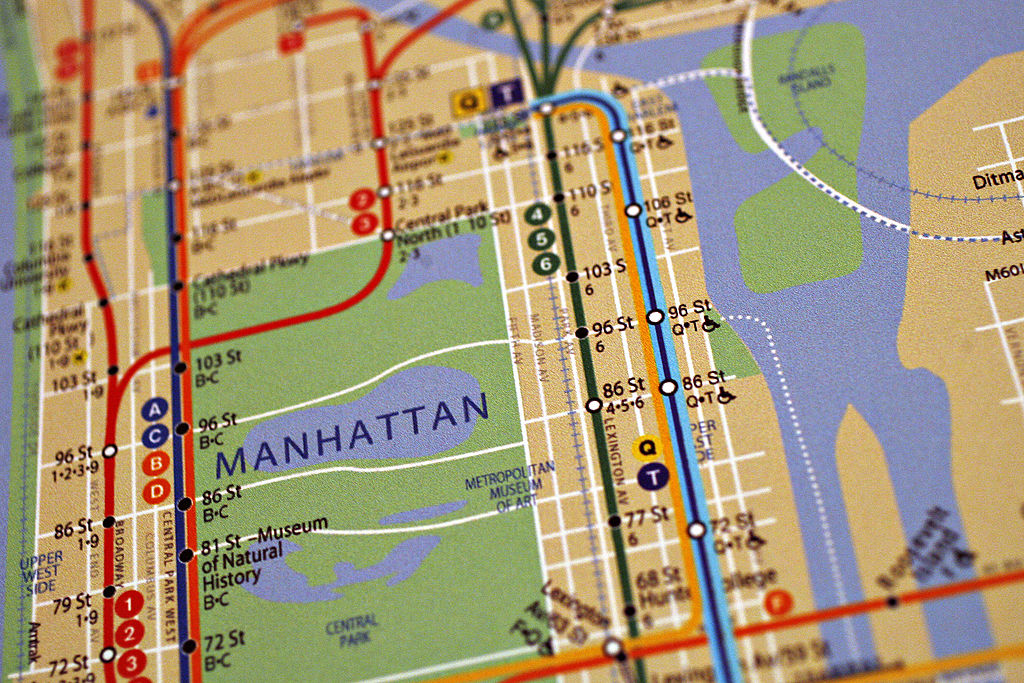 UNITED STATES - APRIL 12: A map of the New York City subway with the addition of the 2nd Avenue subway line, blue line at right, hangs on display during the ground breaking ceremony for the 2nd Avenue subway in New York, Thursday, April 12, 2007. New York's Metropolitan Transportation Authority broke ground on the $17 billion Second Avenue Subway this morning -- for the third time since it was first proposed in the early 20th century. (Photo by Daniel Acker/Bloomberg via Getty Images)
