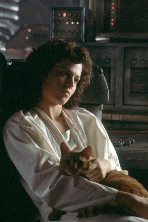 Ellen Ripley and Jonesy the cat snuggle in Aliens