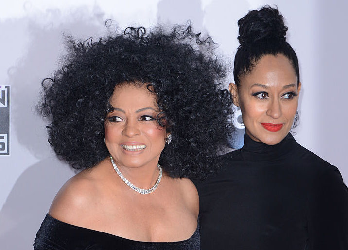 Mother and daughter Diana Ross and Tracee Ellis Ross pose on the red carpet together.
