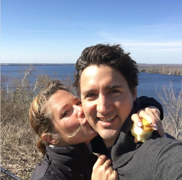 Justin and Sophie Trudeau pose for a selfie on a hike