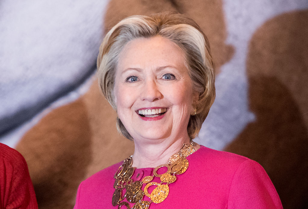 ormer United States Secretary of State Hillary Clinton attends the Oscar de la Renta Forever Stamp dedication ceremony at Grand Central Terminal on February 16, 2017 in New York City.