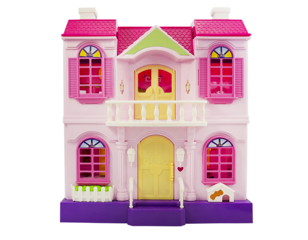 Pink dollhouse on a while background.