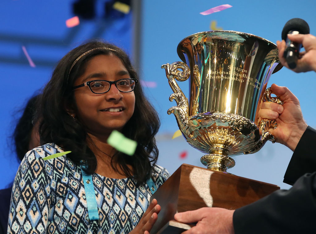 """NATIONAL HARBOR, MD - JUNE 01: Ananya Vinay of Fresno, CA. won the 2017 Scripps National Spelling Bee by spelling the word """"marocain"""", at Gaylord National Resort & Convention Center June 1, 2017 in National Harbor, Maryland. Close to 300 spellers are competing in the annual spelling contest for the top honor this year. (Photo by Mark Wilson/Getty Images)"""