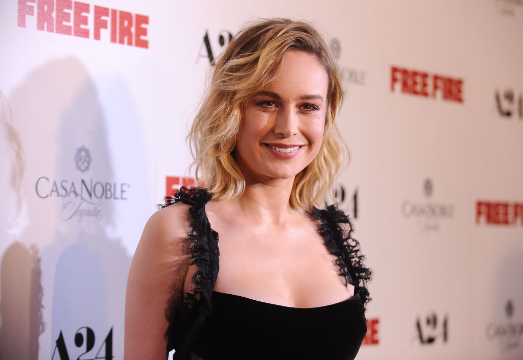 """Actress Brie Larson in a black dress on the red carpet for the premiere of """"Free Fire"""""""