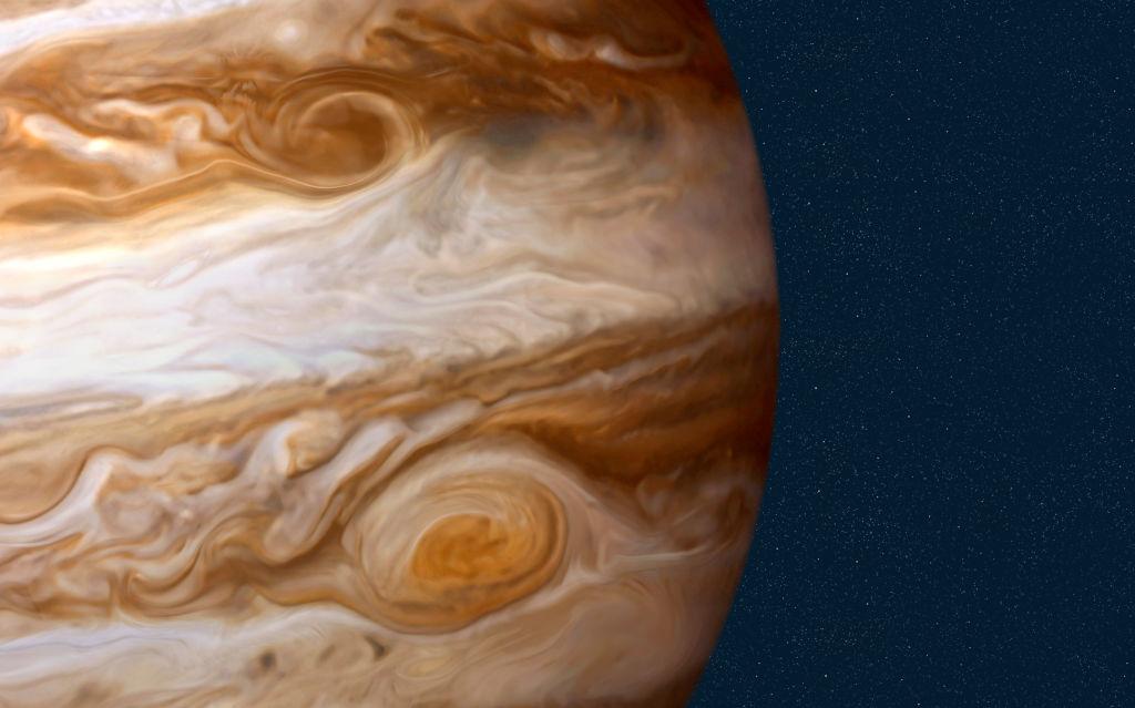 Jupiter against starry sky