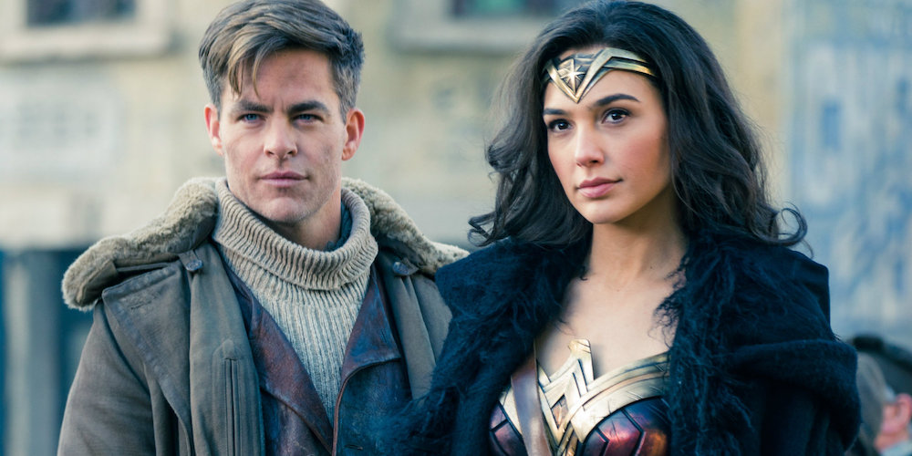 "Gal Gadot as Diana and Chris Pine as Steve Trevor in a still from ""Wonder Woman."""