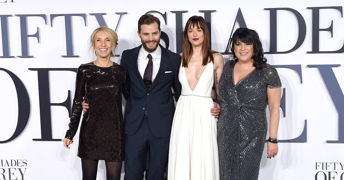 Sam Taylor-Johnson, Jamie Dornan, Dakota Johnson and E.L. James attend the UK Premiere of 'Fifty Shades Of Grey' at Odeon Leicester Square