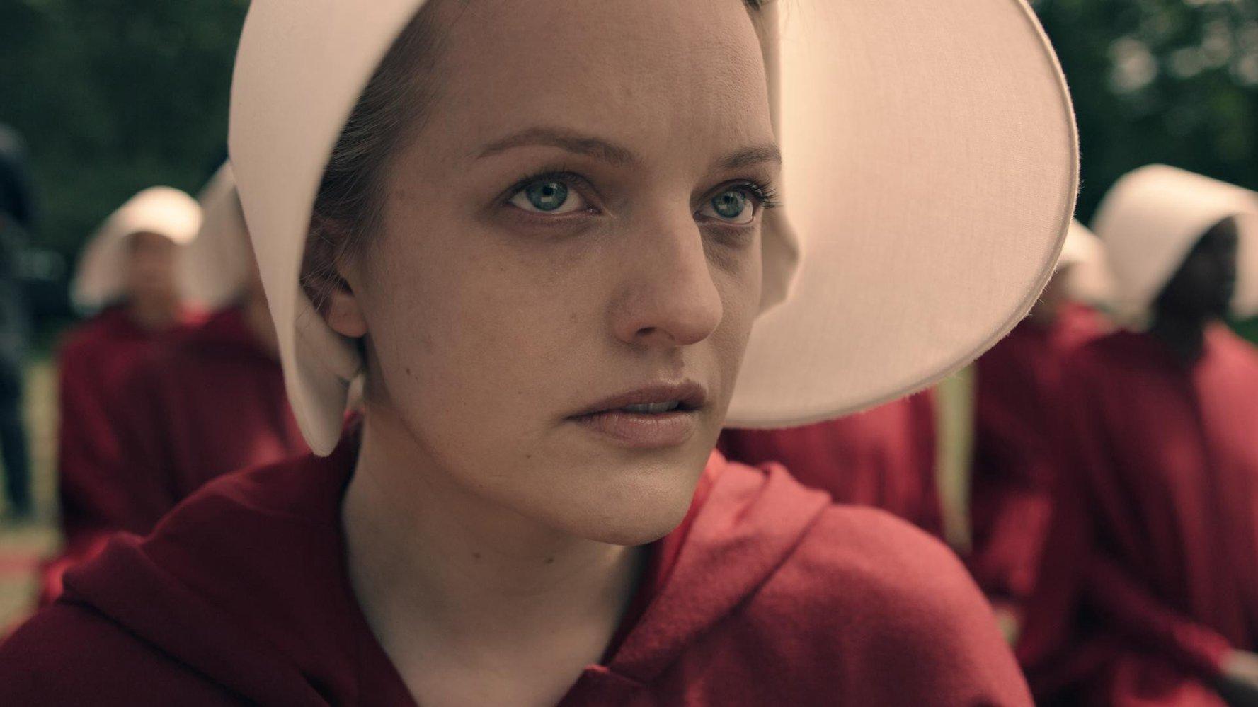 "Elisabeth Moss as Offred in Hulu's ""The Handmaid' Tale"""