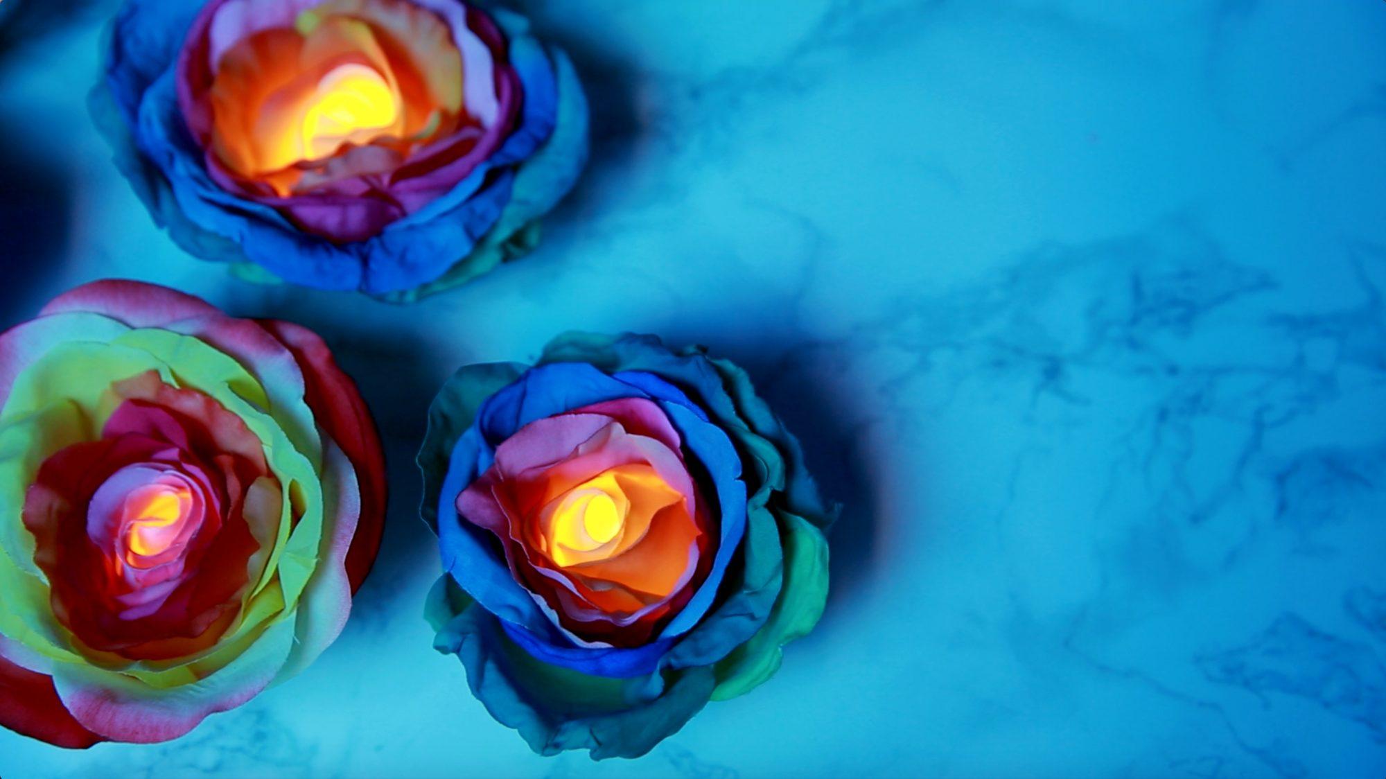 DIY Rainbow Rose Tealights