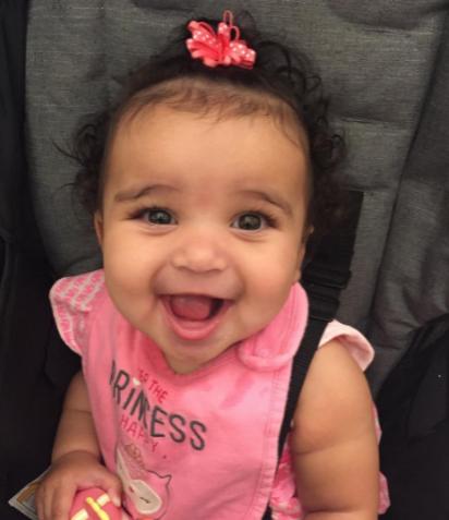 Baby Dream Kardashian smiles