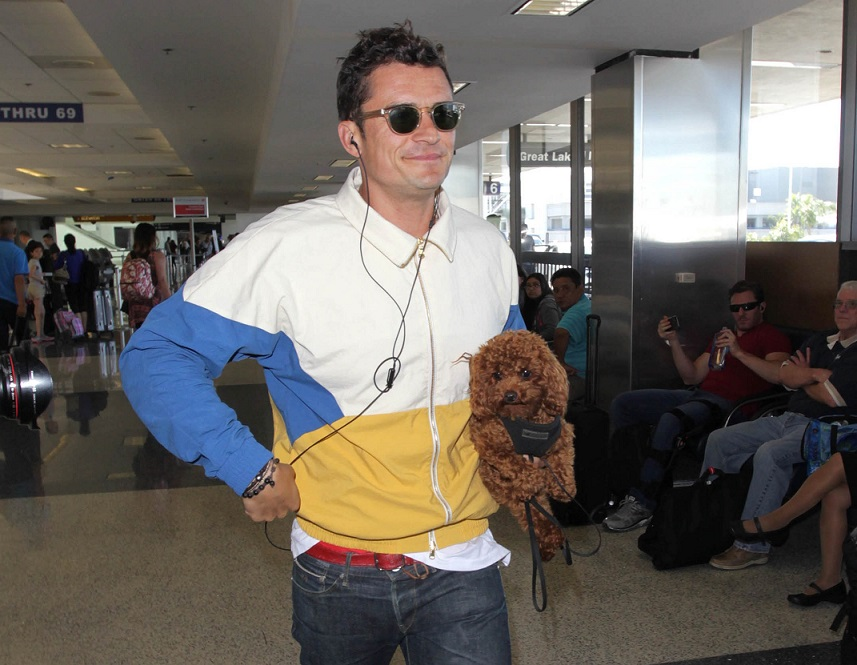 Orlando Bloom and his dog Mighty in Los Angeles