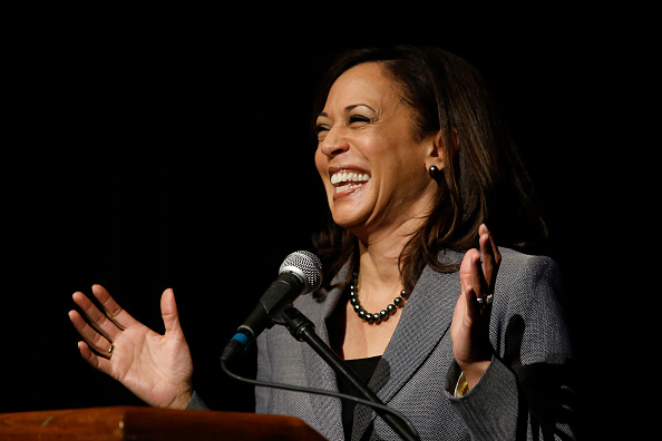 JANUARY 30, 2015: California Attorney General Kamala Harris speaks at Akerman Student Union on the campus of UCLA on January 30 in the Westwood area of Los Angeles. She spoke about human trafficking in California. She is a candidate for U.S. Senate. (Photo by Gary Friedman/Los Angeles Times via Getty Images)