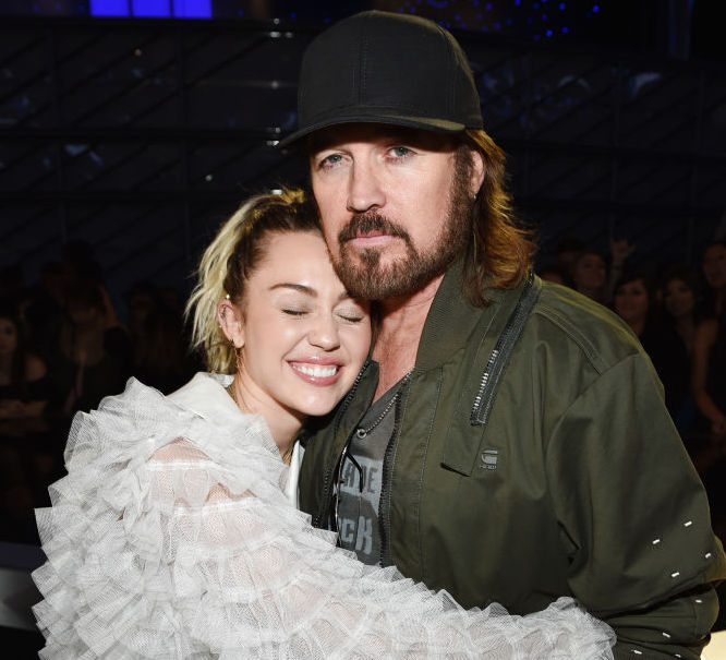 Singers Miley Cyrus and Billy Ray Cyrus attend the 2017 Billboard Music Awards