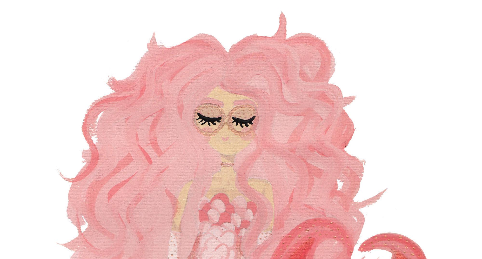Pink mermaid illustration