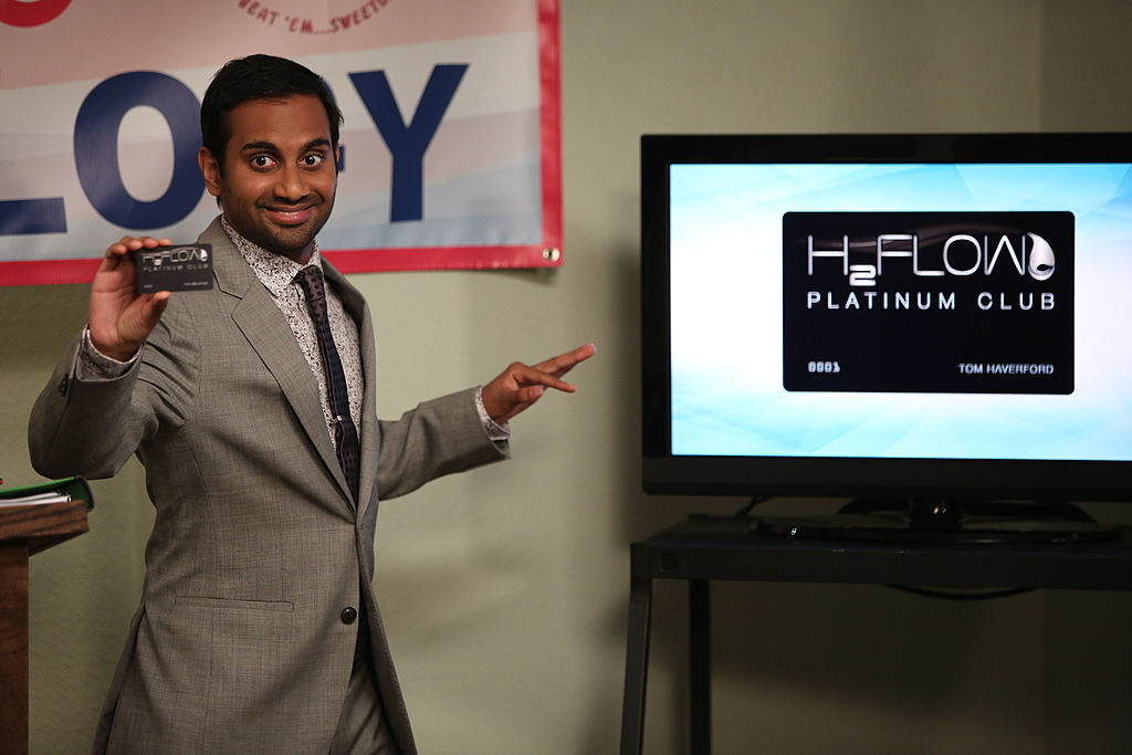 """PARKS AND RECREATION -- """"Fluoride"""" Episode 608 -- Pictured: Aziz Ansari as Tom Haverford -- (Photo by: Tyler Golden/NBC/NBCU Photo Bank via Getty Images)"""