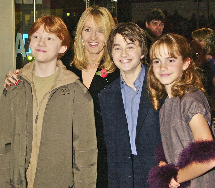 """J.K. Rowling, Emma Watson, Daniel Radcliffe, and Rupert Grint at the London premiere of """"Harry Potter And The Philosopher's Stone"""" on Nov. 4, 2001"""
