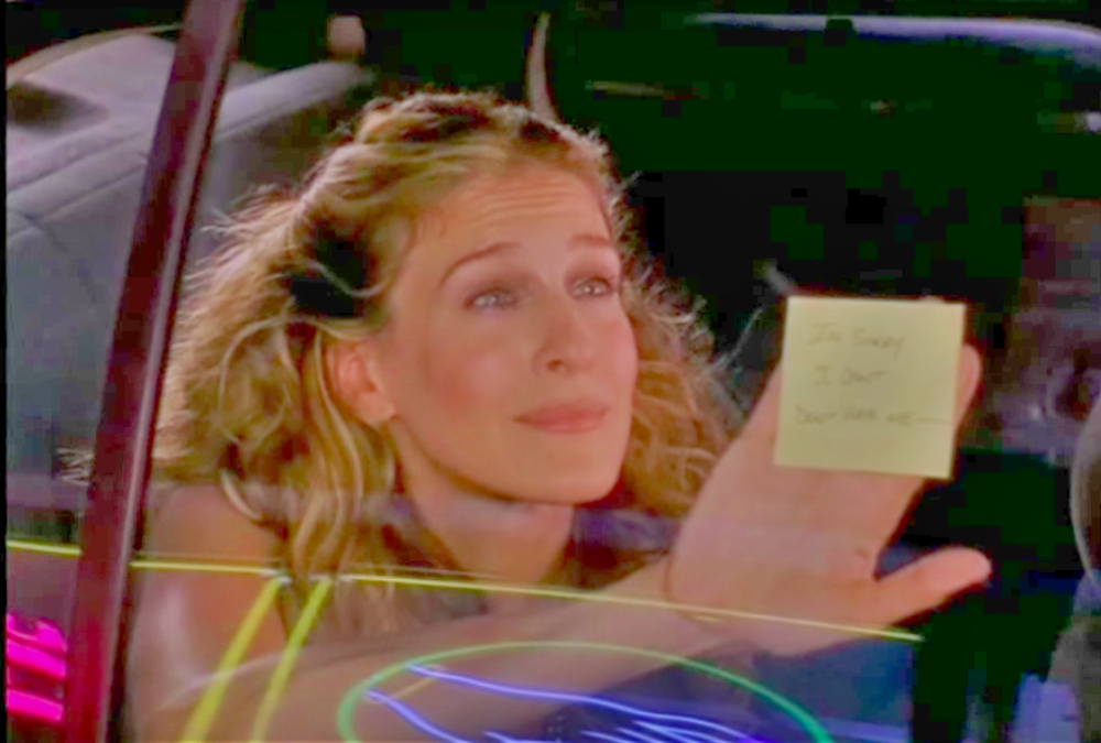 Still from the Sex and the City episode where Carrie gets dumped via a post it note.