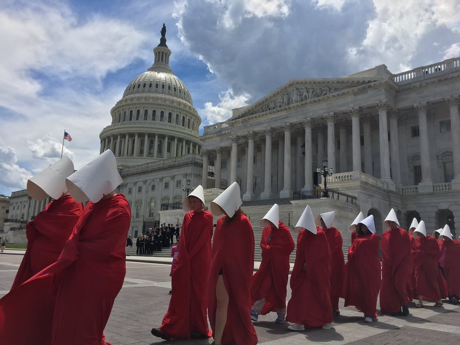 Handmaids outside the Capitol building