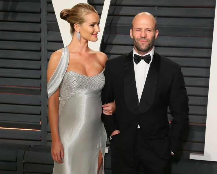 Jason Statham and Rosie Huntington-Whiteley attend the 2017 Vanity Fair Oscar Party hosted by Graydon Carter at Wallis Annenberg Center for the Performing Arts