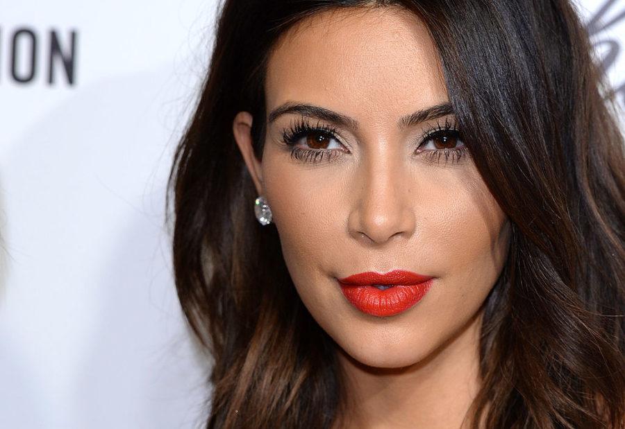 A close up of Kim Kardashian on the red carpet