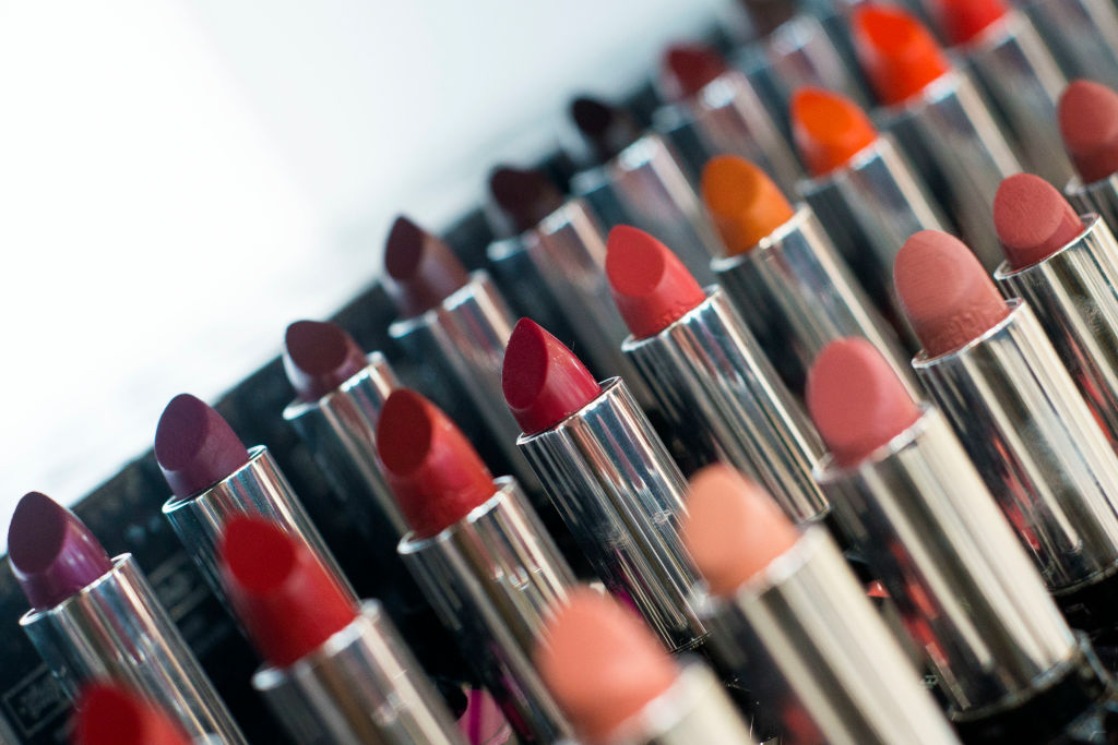 Tubes of lipstick of various colors