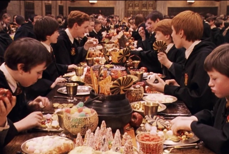 "A Great Hall feast scene in the ""Harry Potter"" films"