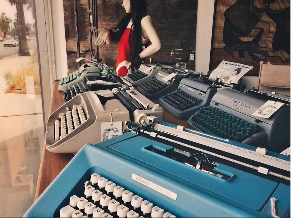 "An image of typewriters from ""California Typewriter"""
