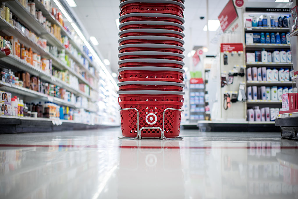Target Corp. shopping baskets sit on the floor of a company store in Chicago, Illinois, U.S., on Monday, May 16, 2016. Target is scheduled to release earnings figured on May 18. Photographer: Christopher Dilts/Bloomberg via Getty Images
