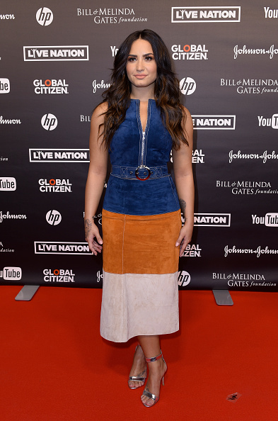 Demi Lovato attends the Global Citizen Festival at the Barclaycard Arena  on July 6, 2017 in Hamburg, Germany.  (Photo by Christian Augustin/Getty Images)