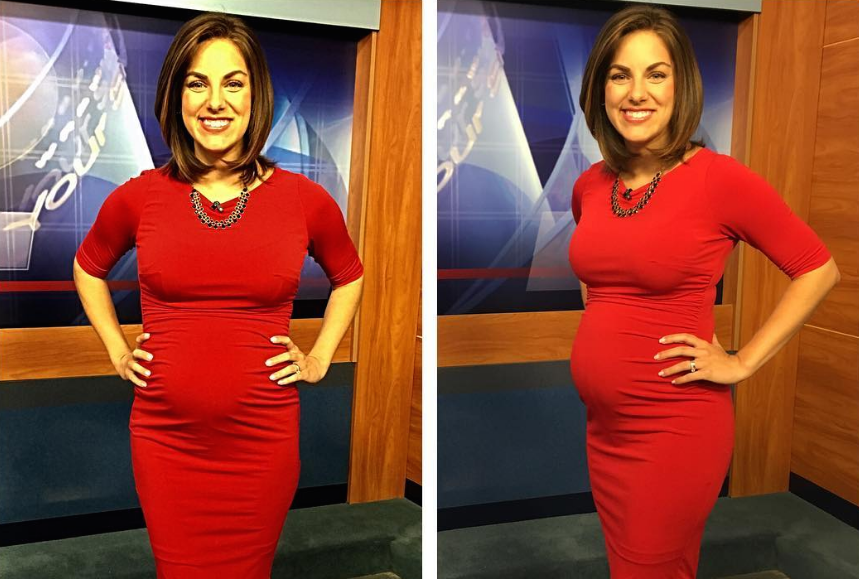 Side-by-side photo of reporter Laura Warren showing off her pregnant stomach from the front and the side