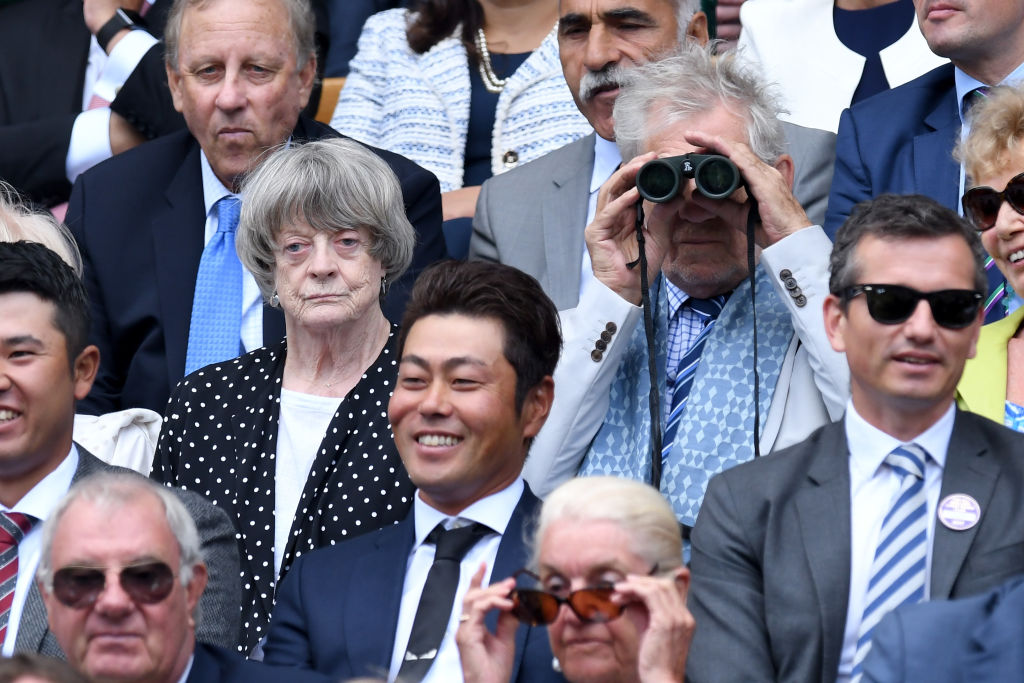 Ian McKellen and Maggie Smith at Wimbledon.