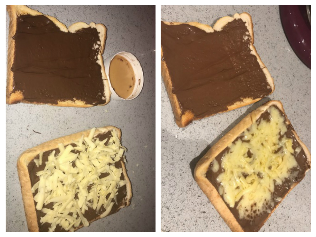 chocolate and cheese sandwich